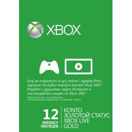 Карта доступа к Xbox Live Gold 12 месяцев