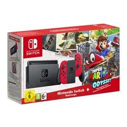 Nintendo Switch (красный) + Игра Super Mario Odyssey